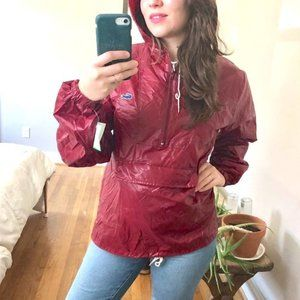 Lacoste Izod NWT Vintage 80s Red Raincoat Jacket M